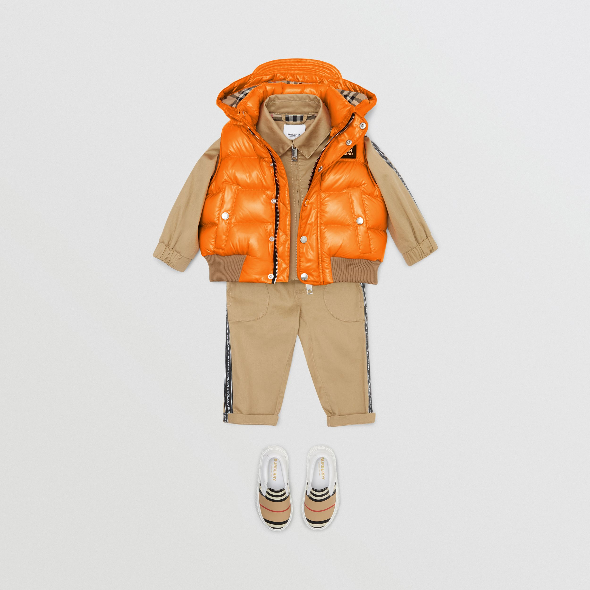 Detachable Hood Nylon Puffer Gilet in Bright Mandarin - Children | Burberry - 4