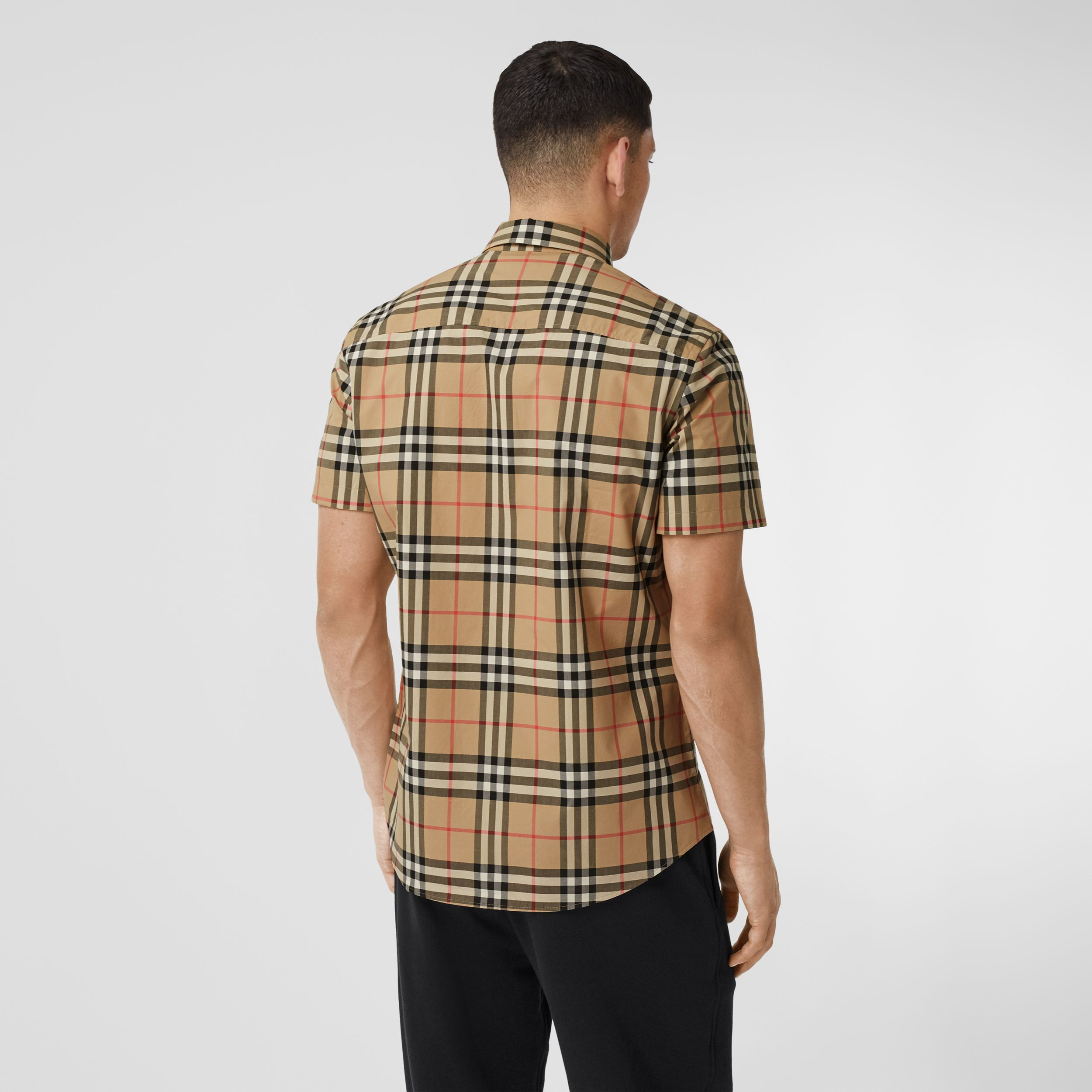 Short-sleeve Check Cotton Poplin Shirt in Archive Beige - Men | Burberry - 3