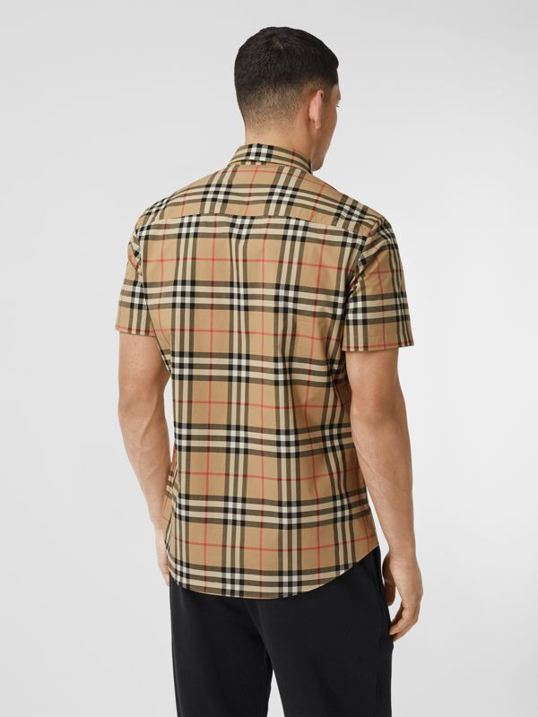 Short-sleeve Check Cotton Poplin Shirt in Archive Beige - Men   Burberry United Kingdom - cell image 2