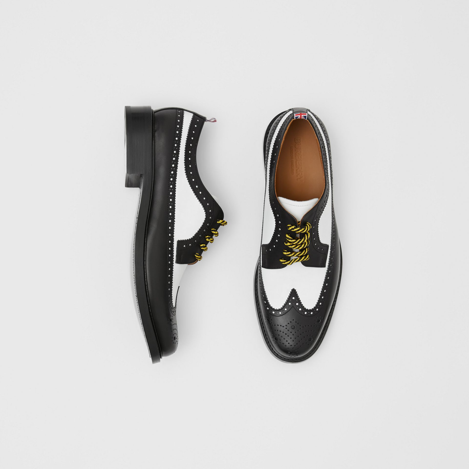 Brogue Detail Two-tone Leather Derby Shoes in Black/optic White - Men | Burberry Australia - gallery image 0
