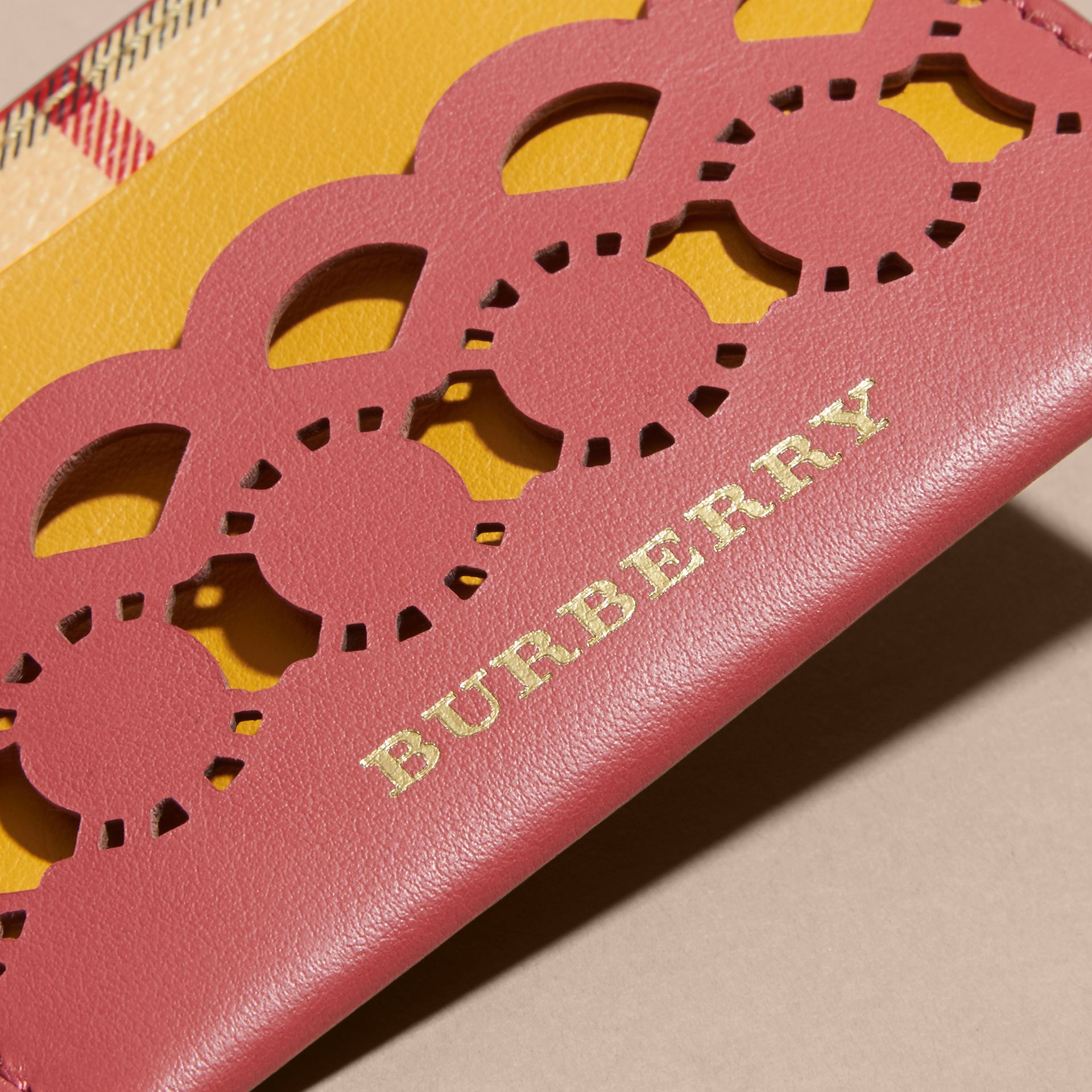 Laser-cut Leather and Haymarket Check Card Case in Antique Rose - Women | Burberry - gallery image 2