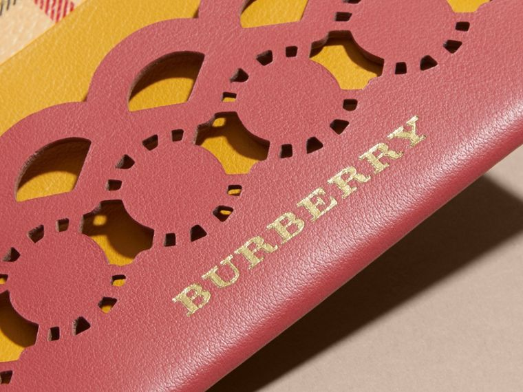 Laser-cut Leather and Haymarket Check Card Case in Antique Rose - Women | Burberry - cell image 1