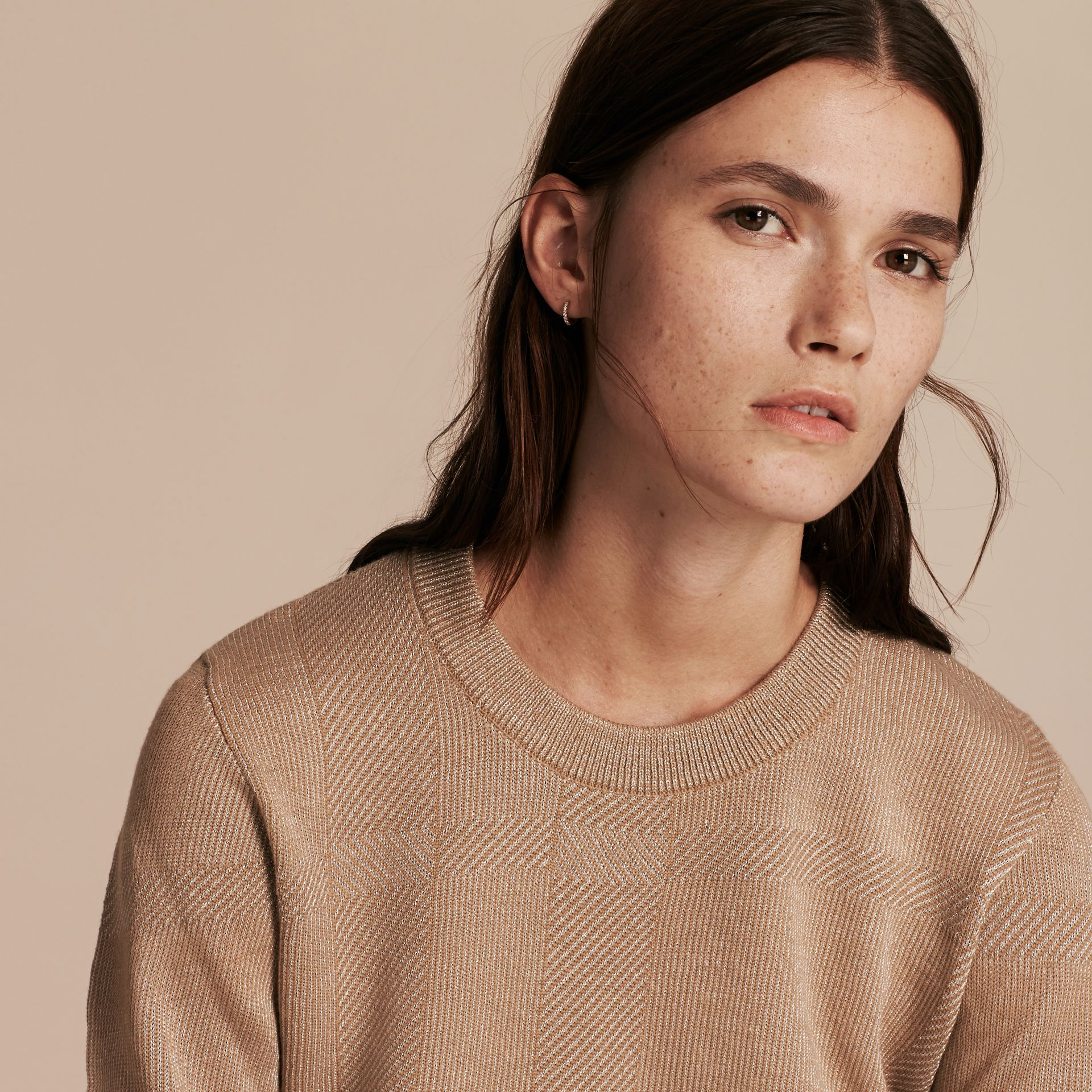 Camel Check Merino Wool and Metallic Sweater - gallery image 5
