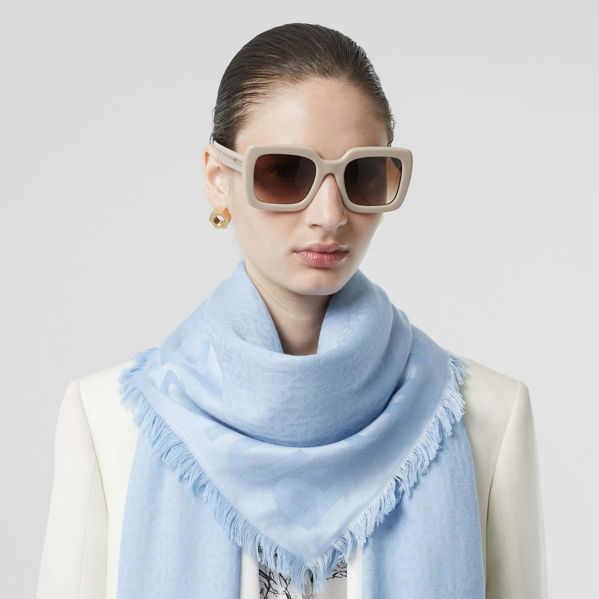 Monogram Silk Wool Jacquard Large Square Scarf in Pale Blue | Burberry United States - gallery image 2