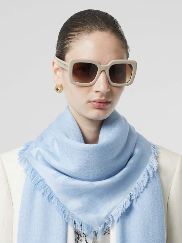 Monogram Silk Wool Jacquard Large Square Scarf in Pale Blue | Burberry - cell image 2