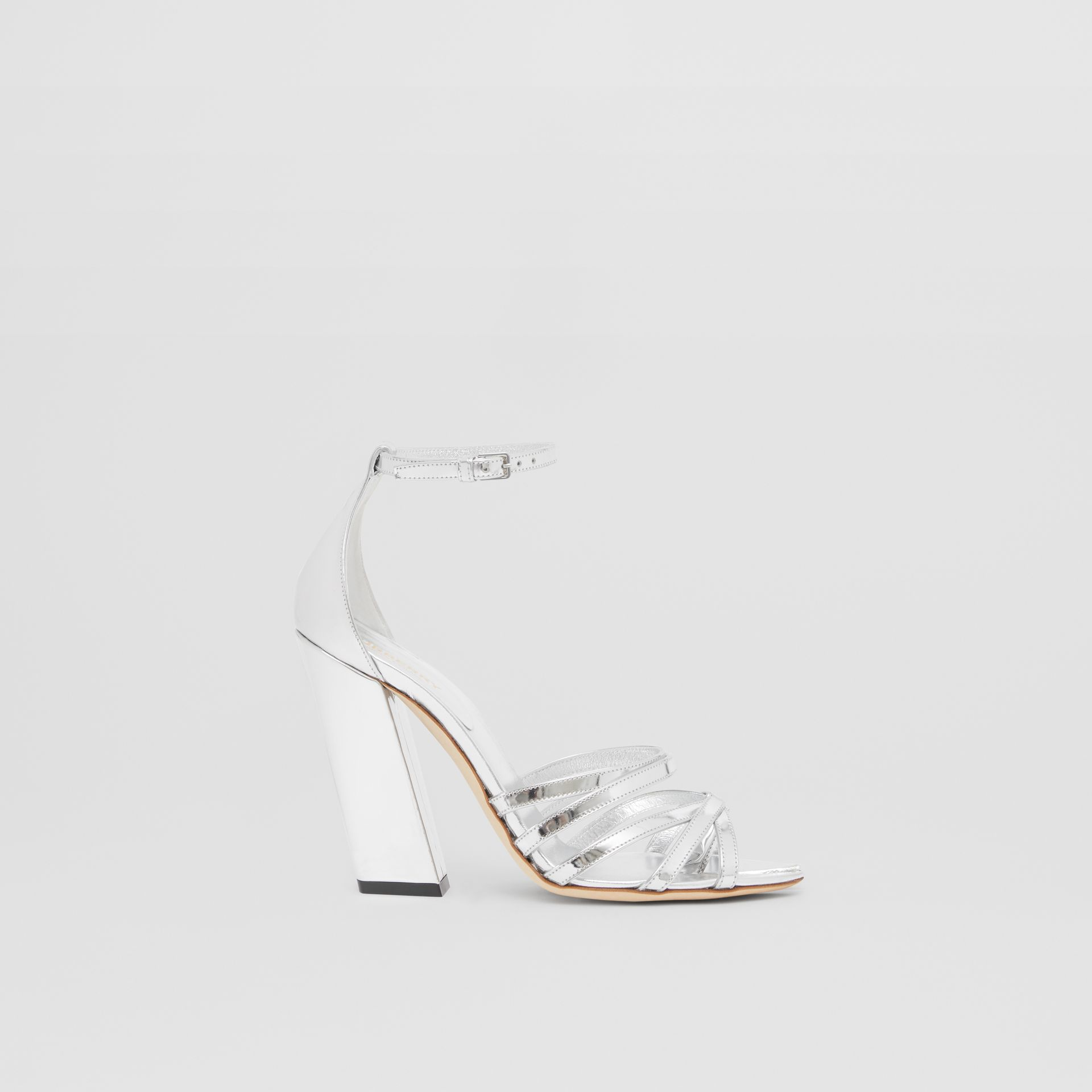 Split-toe Detail Metallic Leather Sandals in Argent - Women | Burberry - gallery image 4