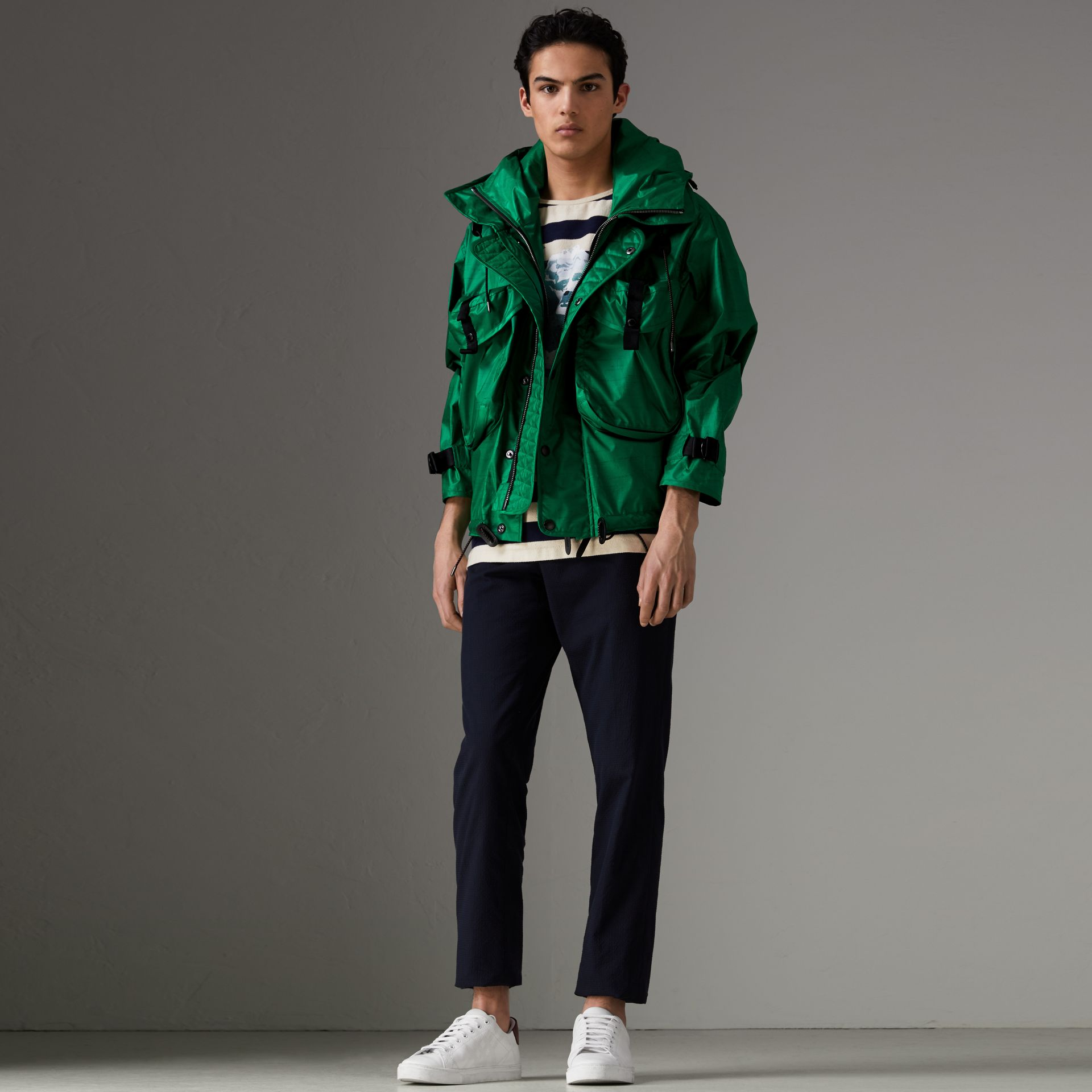 Packaway Hood Showerproof Jacket With Gilet in Vibrant Green - Men | Burberry - gallery image 0