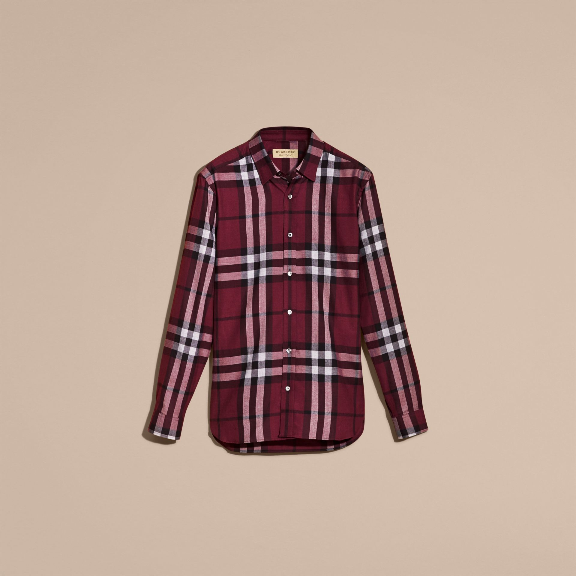 Deep claret Check Cotton Cashmere Flannel Shirt Deep Claret - gallery image 4