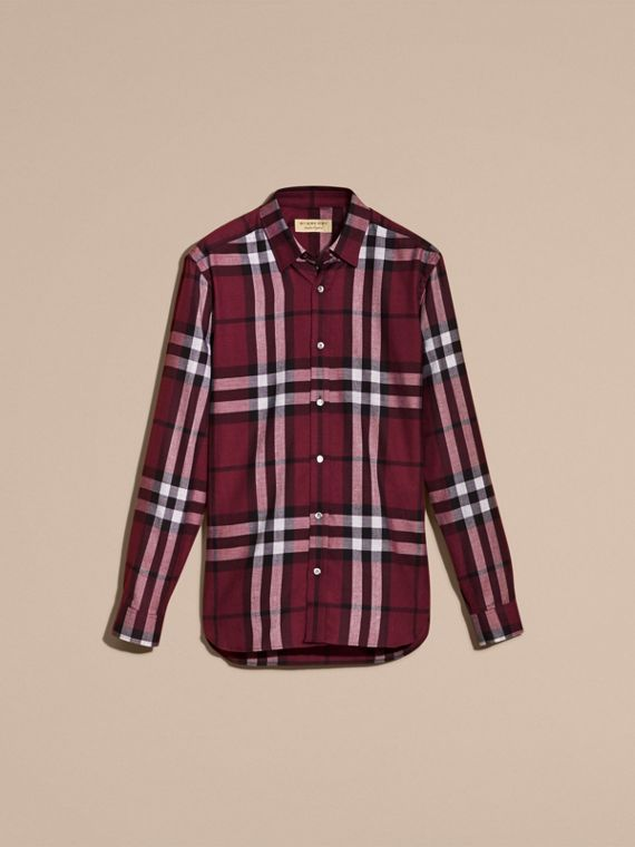 Deep claret Check Cotton Cashmere Flannel Shirt Deep Claret - cell image 3