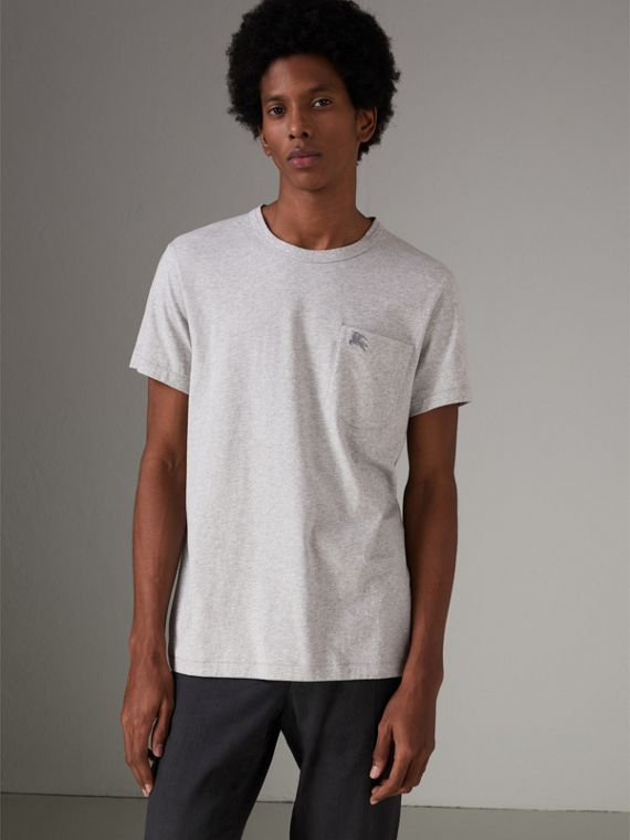 Pocket Detail Cotton Jersey T-shirt in Pale Grey Melange