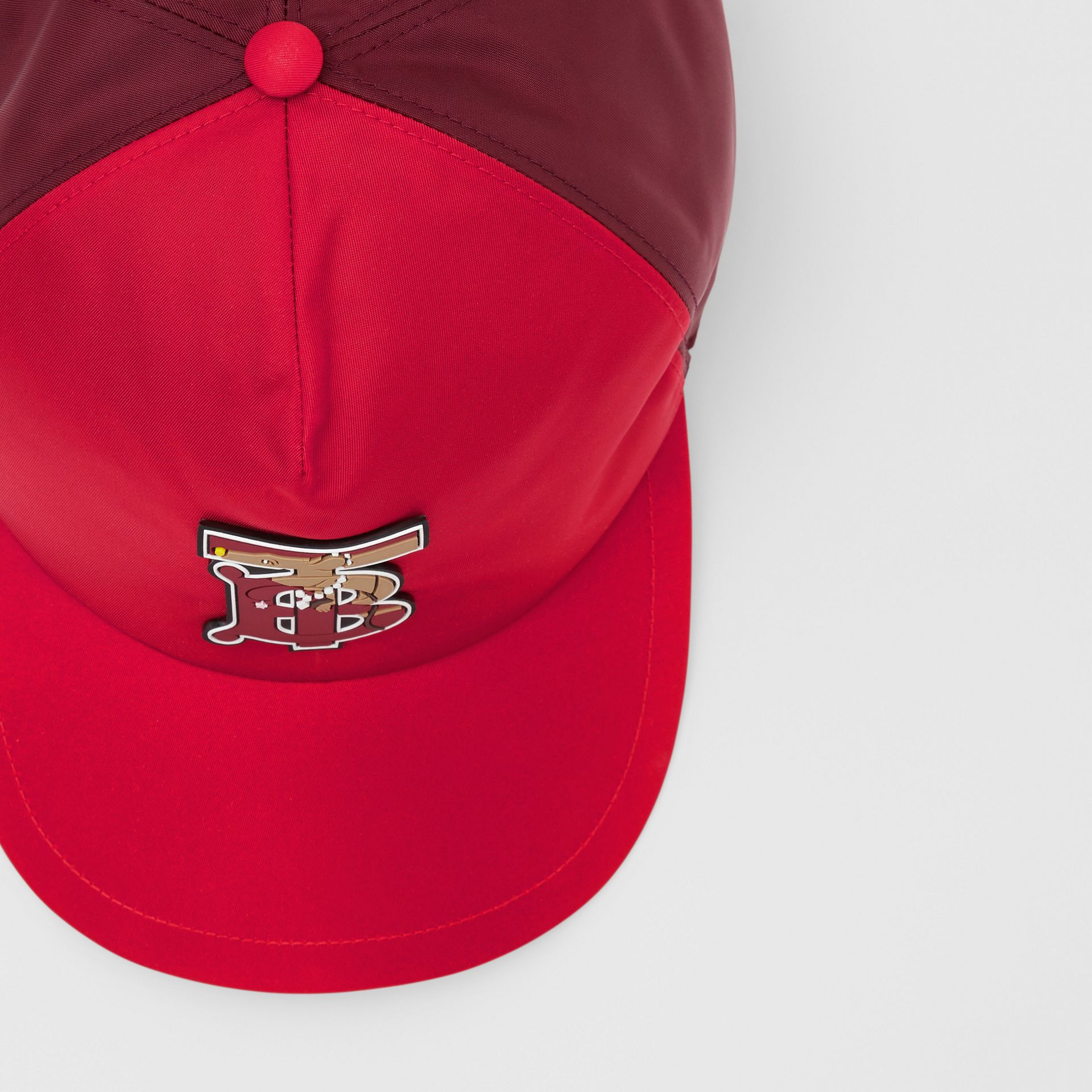 Monogram Motif Two-tone Baseball Cap in Bright Red | Burberry - gallery image 8