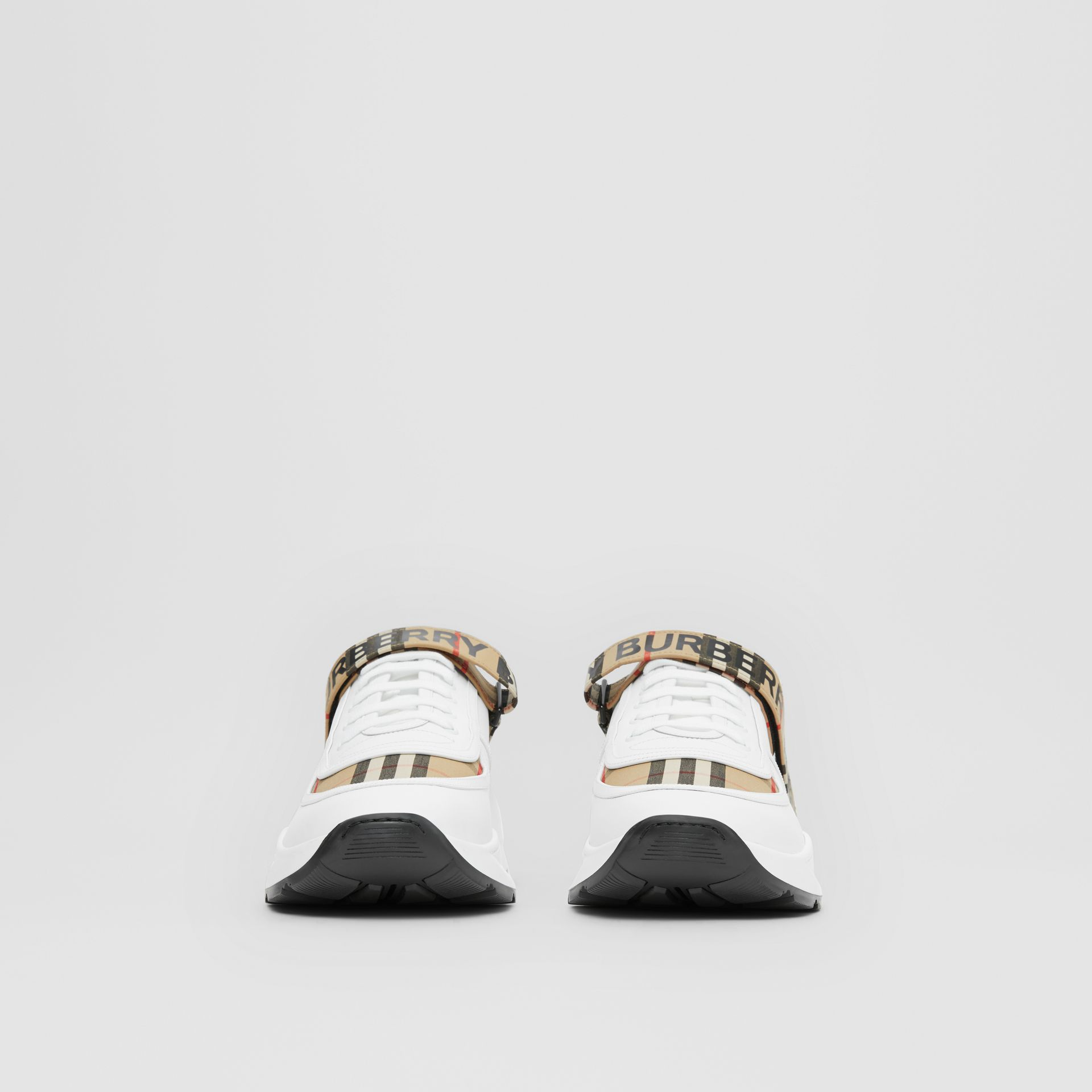 Logo Detail Leather and Vintage Check Sneakers in Archive Beige/white - Men | Burberry United Kingdom - gallery image 3
