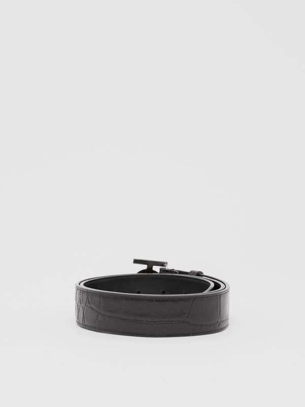 Monogram Motif Embossed Leather Belt in Black - Men | Burberry United Kingdom - cell image 3