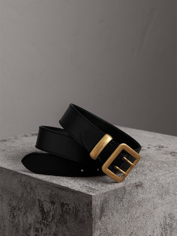 Double-pin Buckle Leather Belt in Black