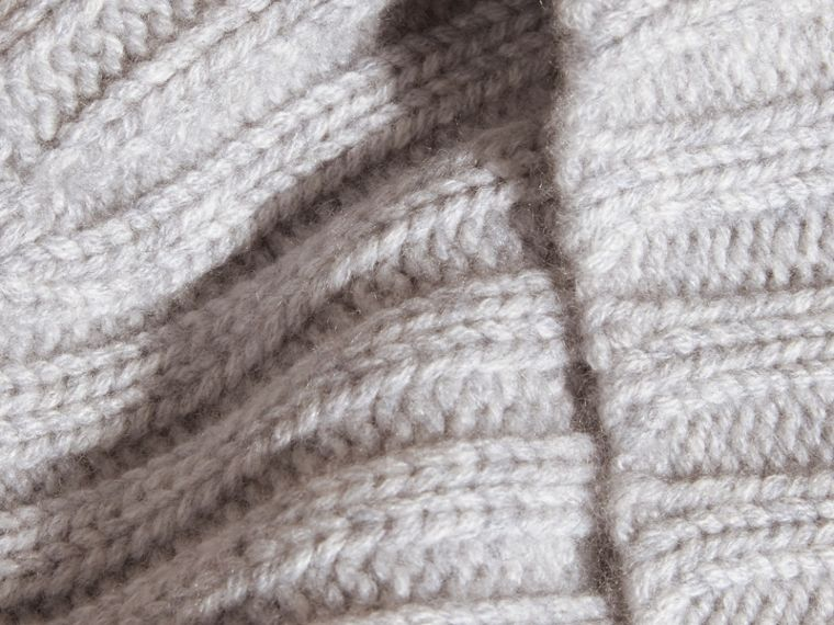 Ribbed Knit Wool Cashmere Beanie Light Grey Melange - cell image 1