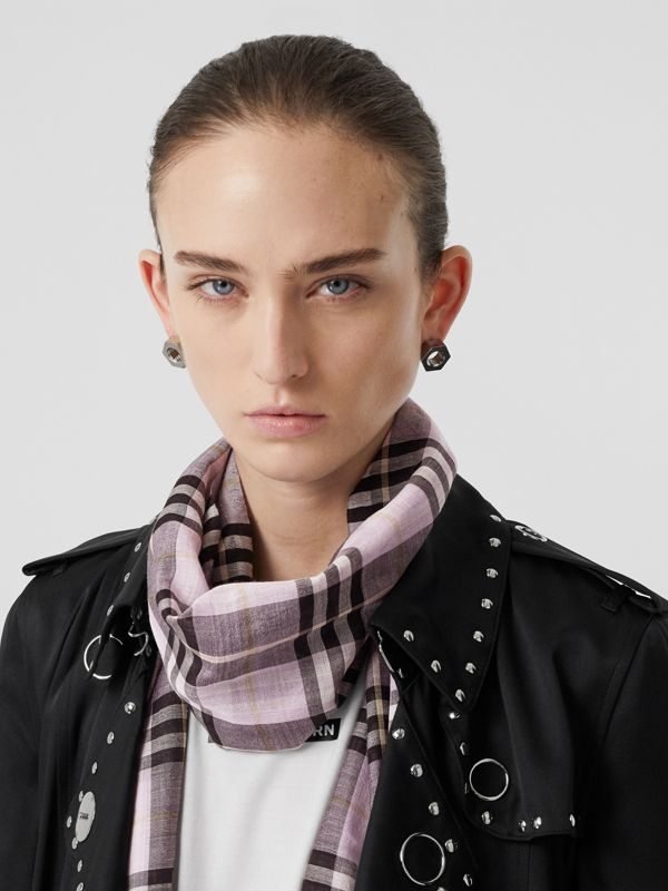 Vintage Check Lightweight Wool Silk Scarf in Lavender | Burberry - cell image 2