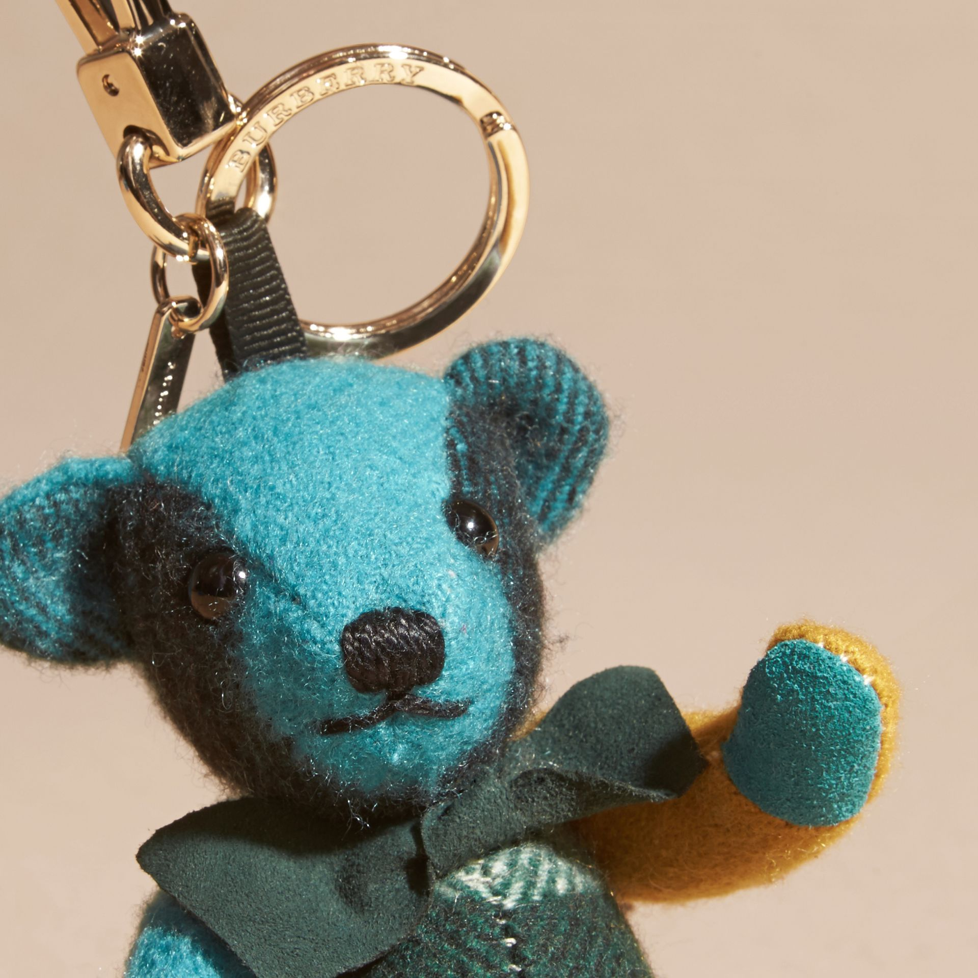 Dark aqua Thomas Bear Charm in Colour Block Check Cashmere Dark Aqua - gallery image 4