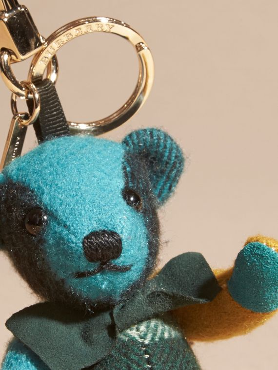 Thomas Bear Charm in Colour Block Check Cashmere Dark Aqua - cell image 3