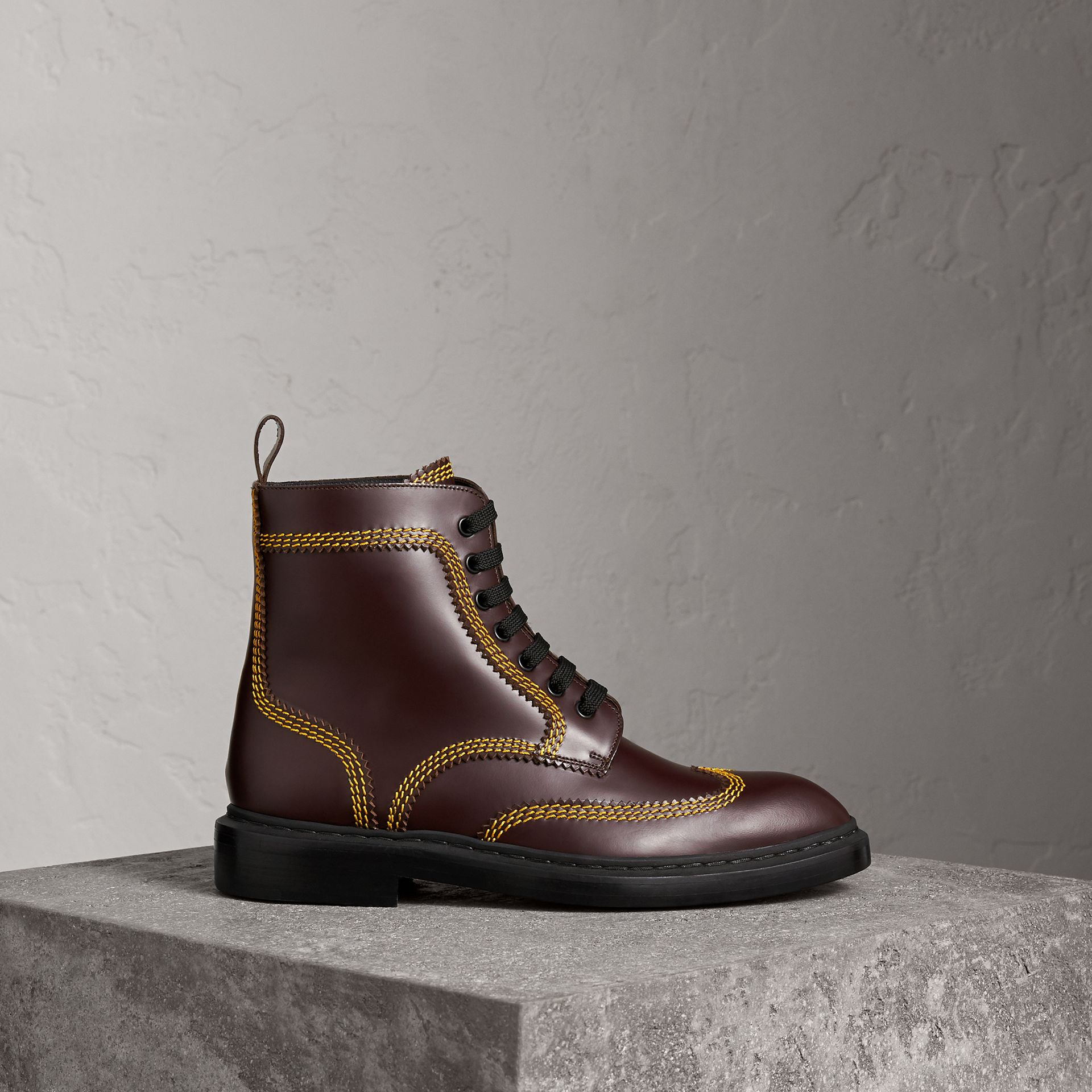 Topstitched Leather Derby Boots in Bordeaux - Men | Burberry - gallery image 0