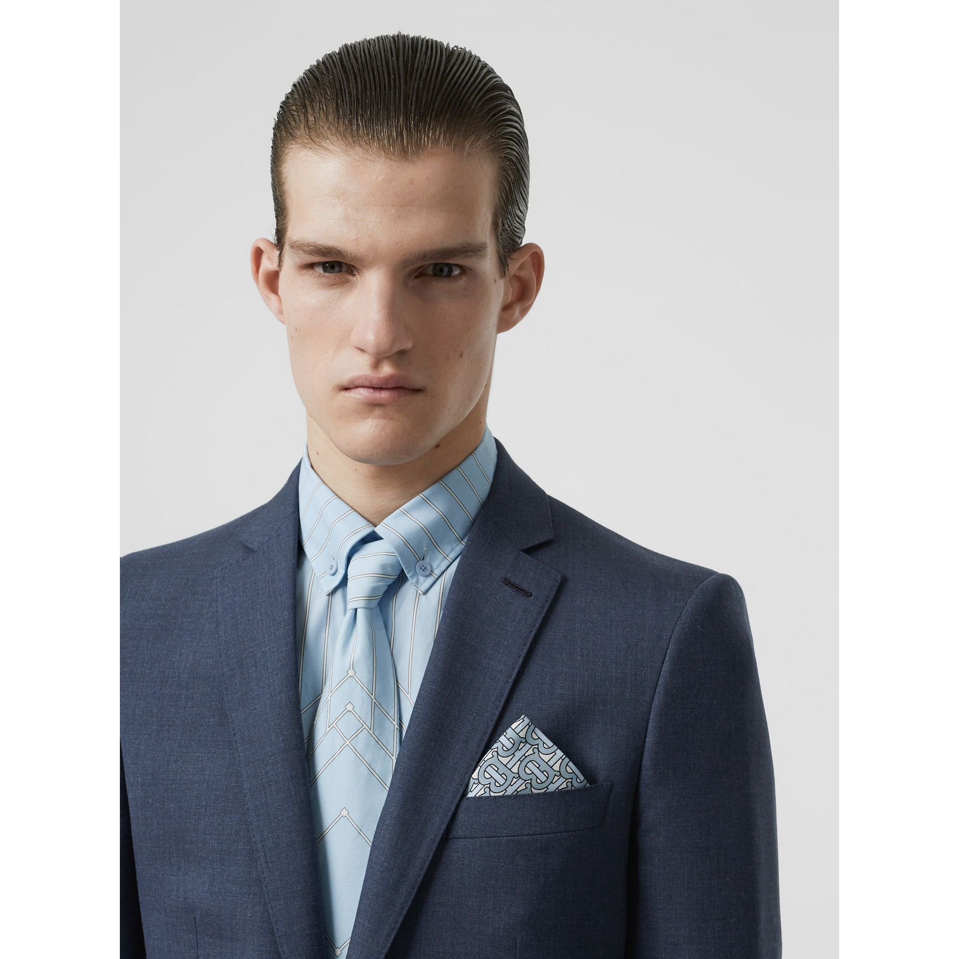 Classic Fit Wool Tailored Jacket in Steel Blue Melange - Men | Burberry - gallery image 1