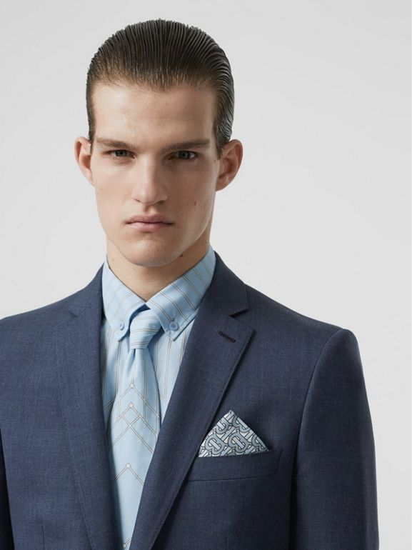 Classic Fit Wool Tailored Jacket in Steel Blue Melange - Men | Burberry United Kingdom - cell image 1