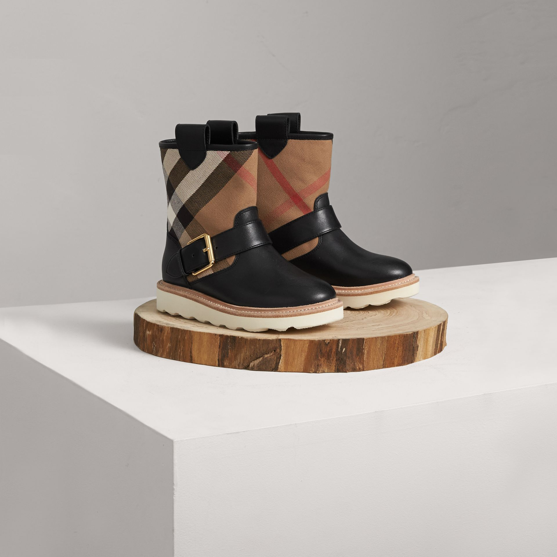 House Check and Leather Weather Boots in Classic | Burberry - gallery image 0