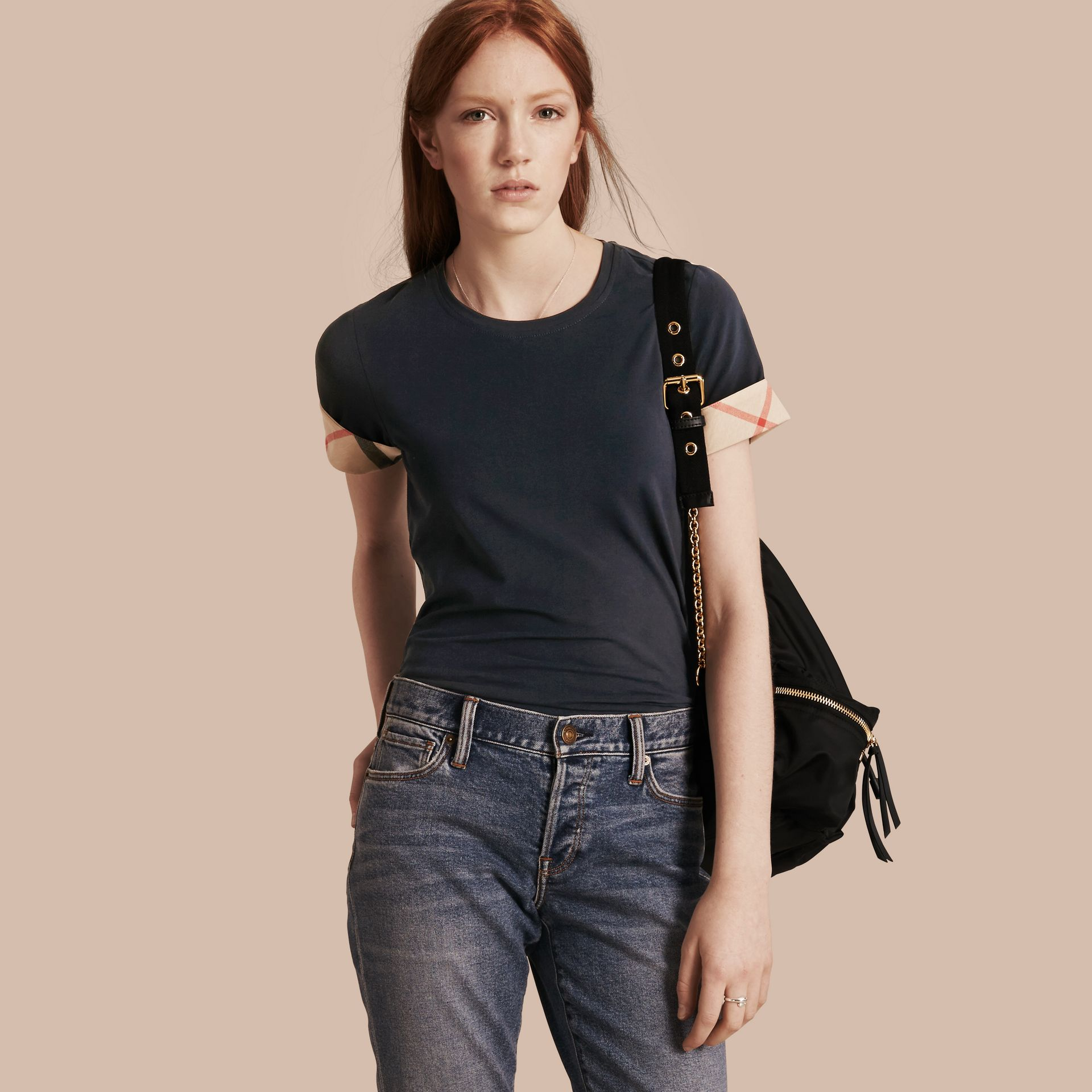 Check Cuff Stretch Cotton T-Shirt in Navy - gallery image 1