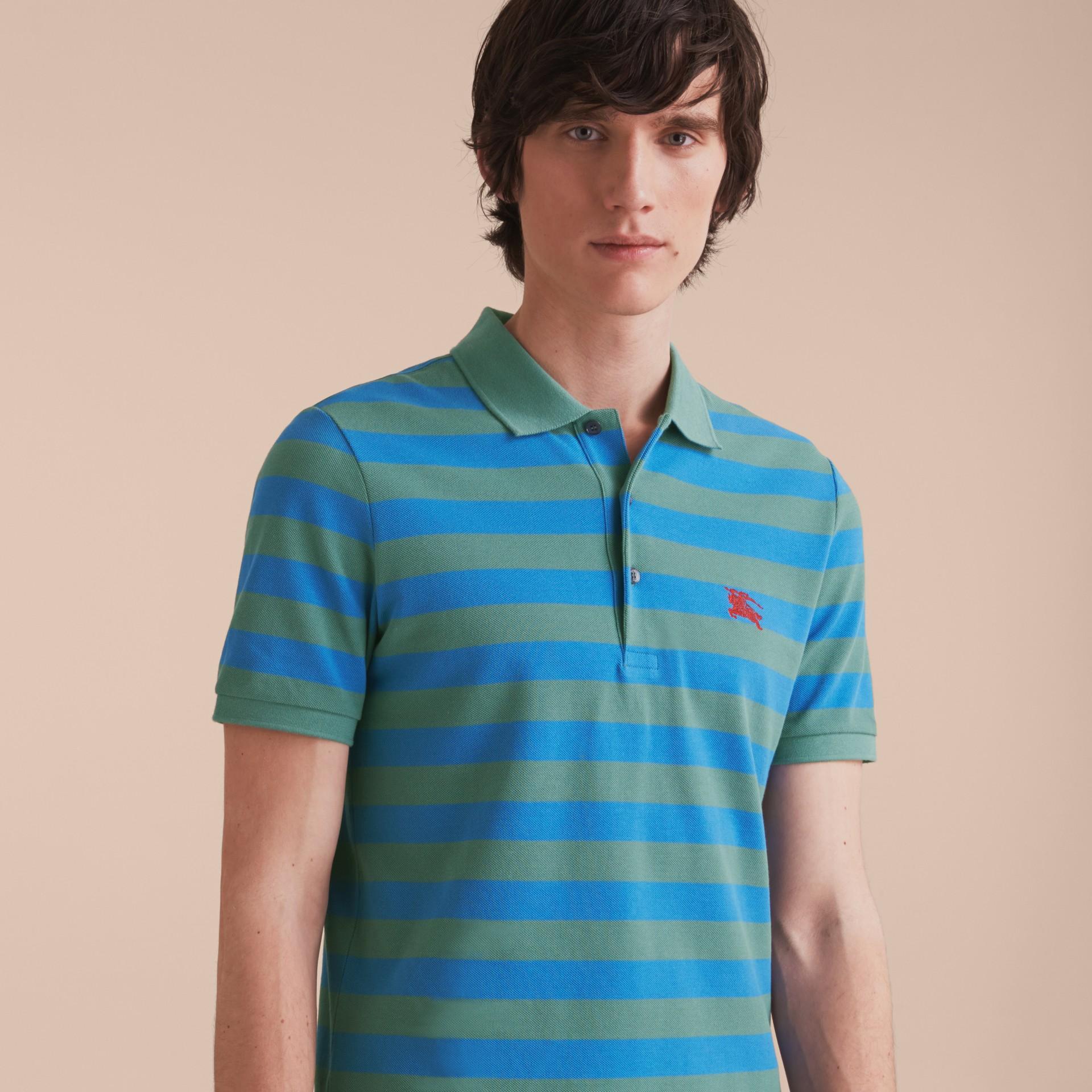 Striped Cotton Polo Shirt Eucalyptus Green/chalk Blue - gallery image 6