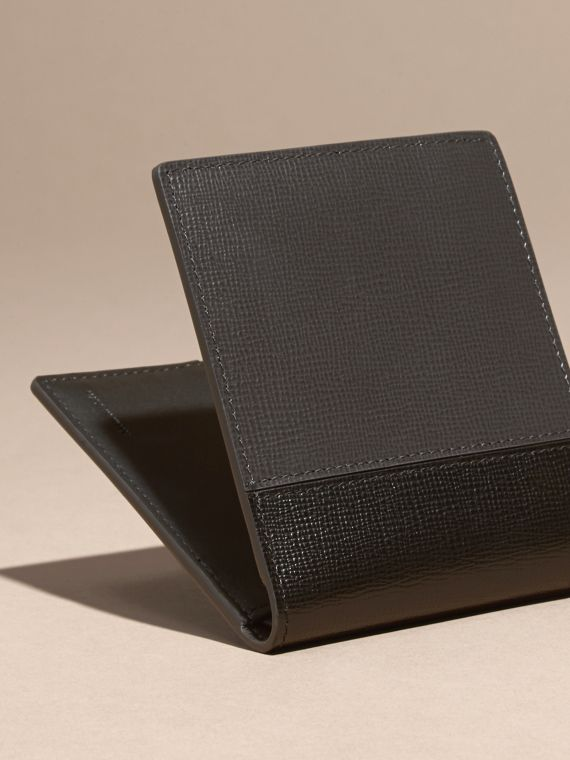 Charcoal/black Panelled London Leather Folding Wallet Charcoal/black - cell image 3