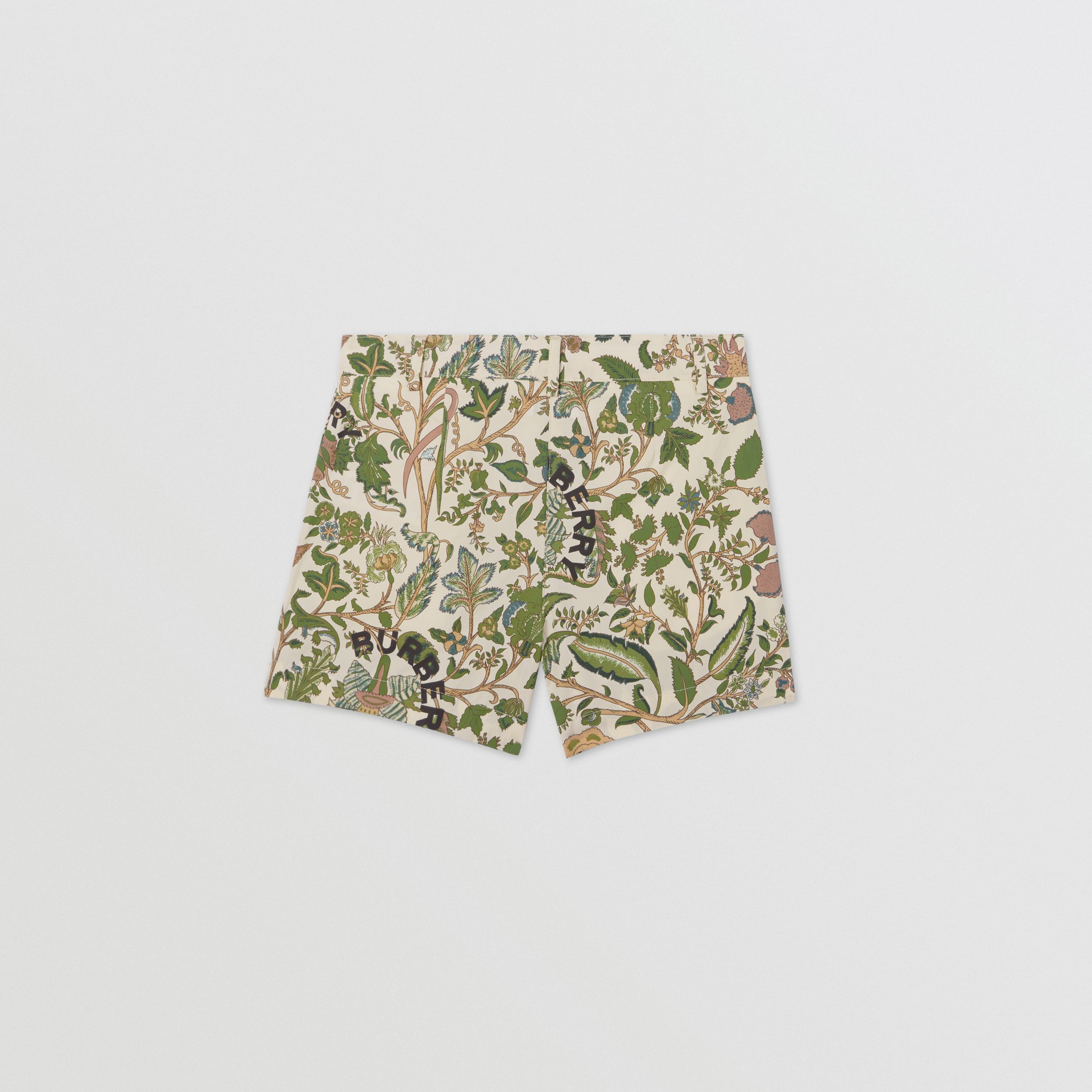 Botanical Print Cotton Tailored Shorts in Olive | Burberry Hong Kong S.A.R - 4