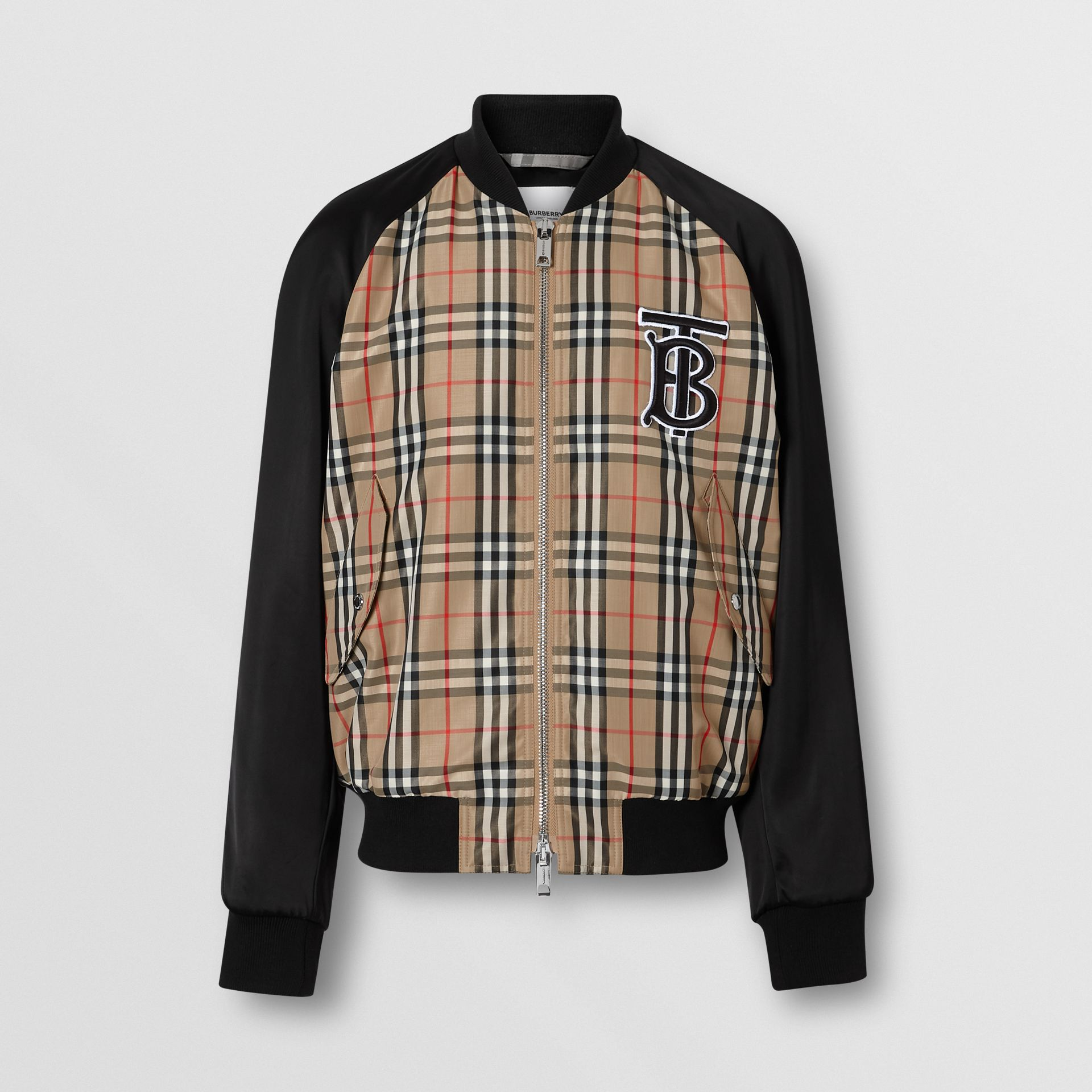 Monogram Motif Vintage Check Nylon Bomber Jacket in Archive Beige - Men | Burberry - gallery image 3