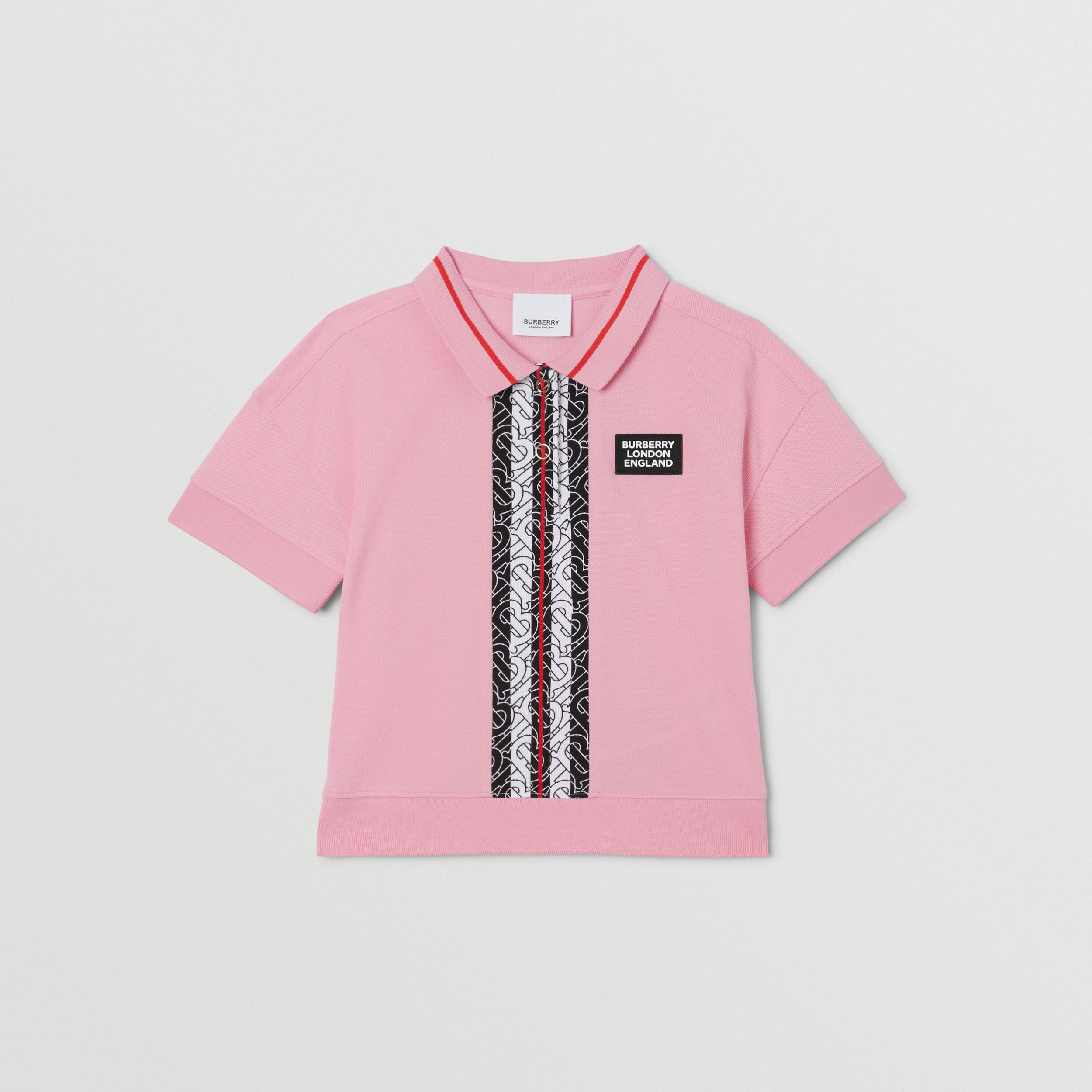 Monogram Stripe Print Cotton Piqué Polo Shirt in Candy Pink | Burberry - 1