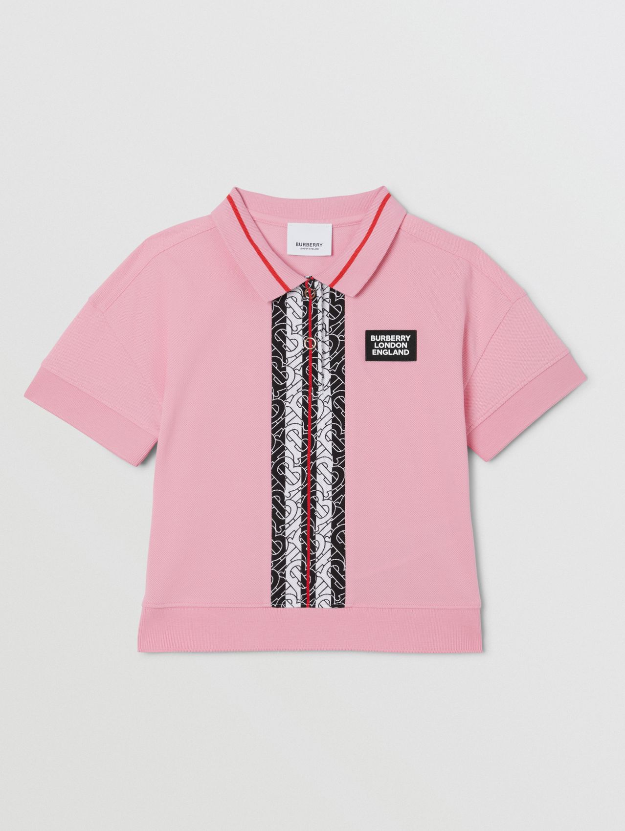 Monogram Stripe Print Cotton Piqué Polo Shirt in Candy Pink