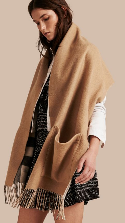 Ivory check Check Wool Cashmere Stole - Image 1