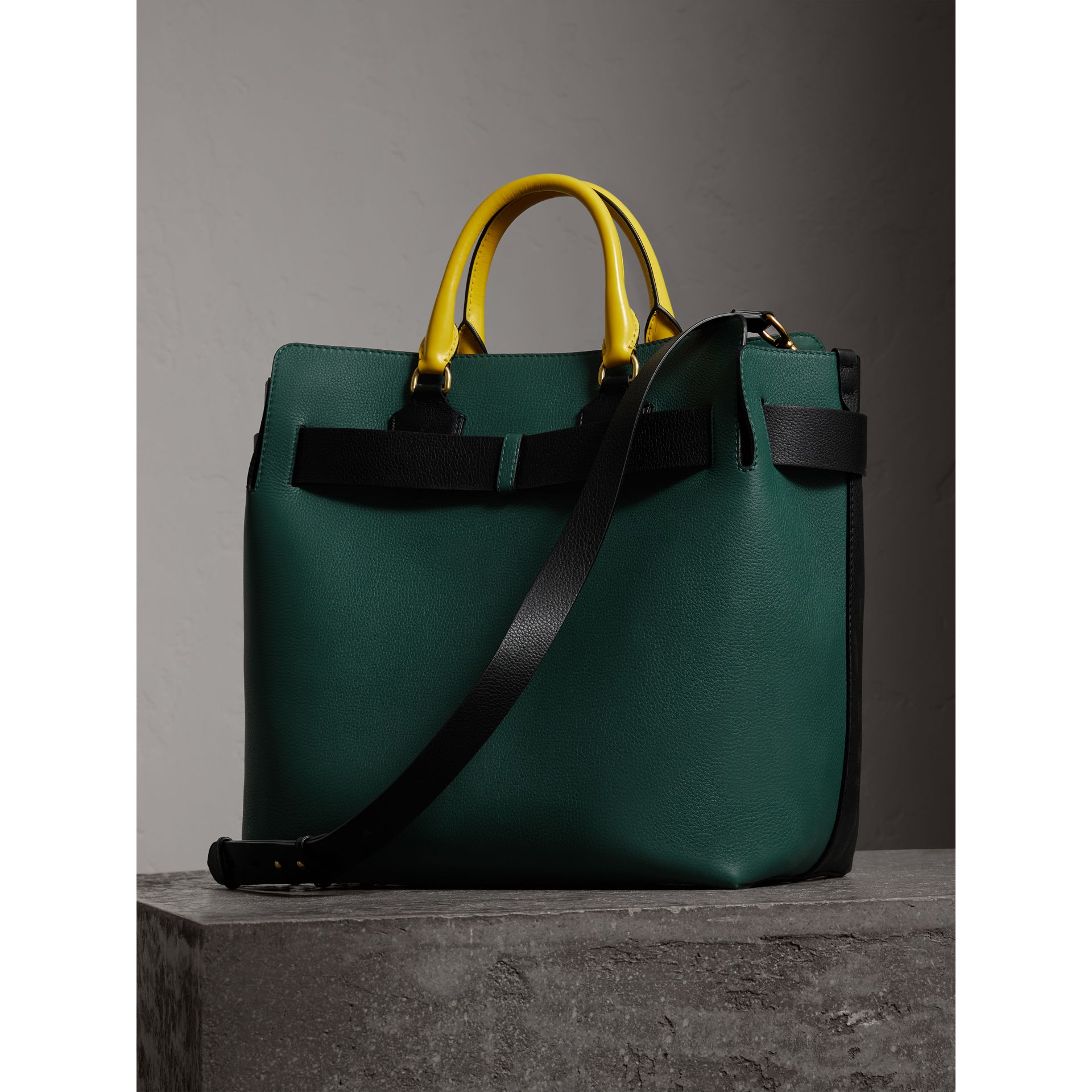 Grand sac The Belt en cuir tricolore (Noir/vert Marin) | Burberry - photo de la galerie 3