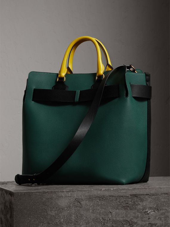 The Large Tri-tone Leather Belt Bag in Black/sea Green | Burberry Singapore - cell image 3