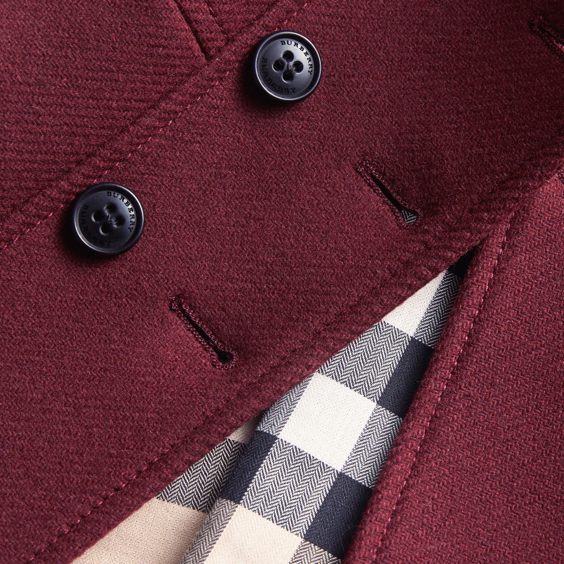 Wool Cashmere Blend Twill Tailored Coat in Garnet | Burberry - gallery image 2