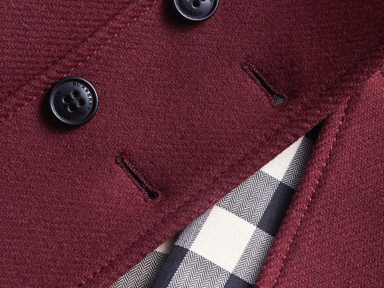 Wool Cashmere Blend Twill Tailored Coat in Garnet | Burberry Canada - cell image 1