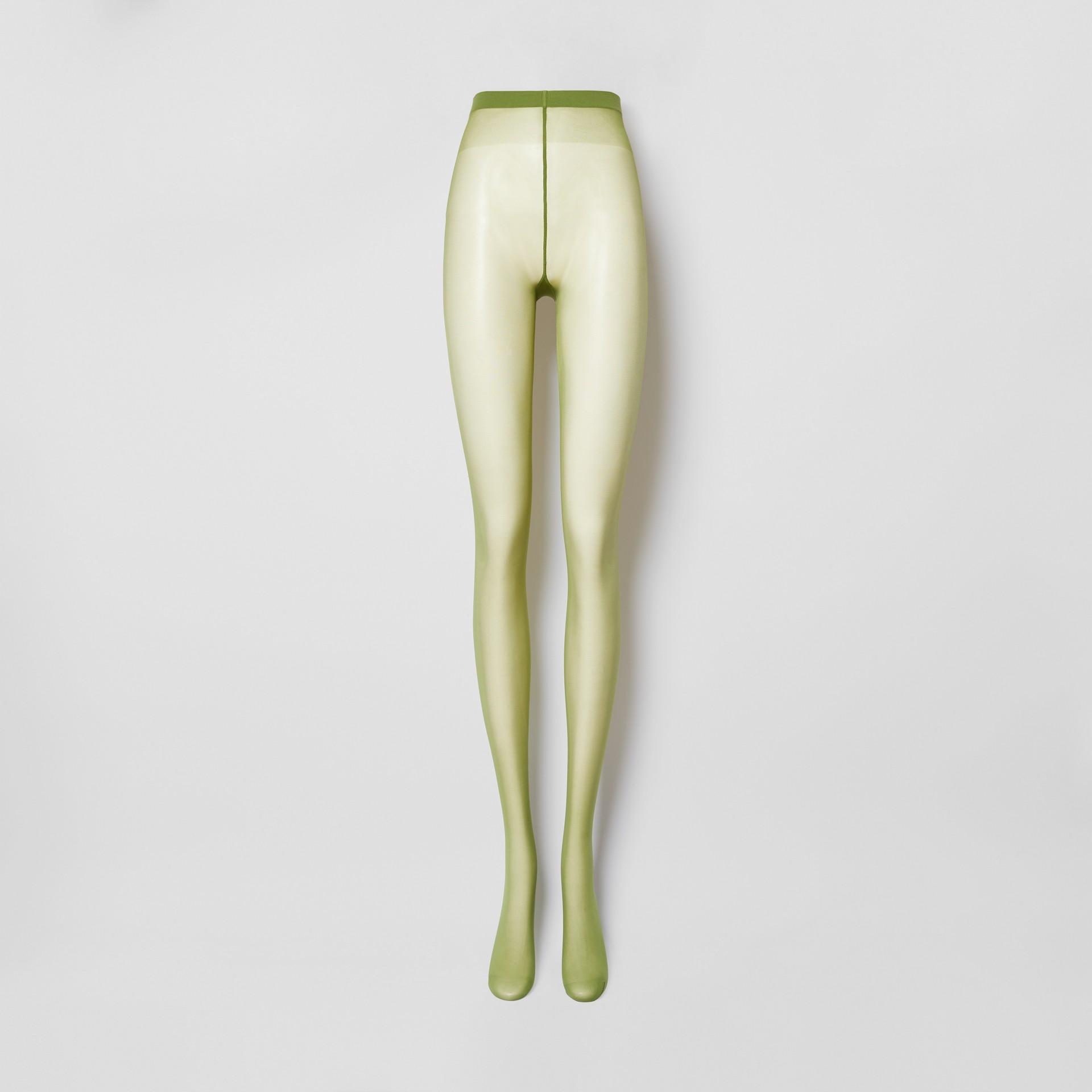 Monogram Motif Seamed Tights in Cedar Green - Women | Burberry Singapore - gallery image 2
