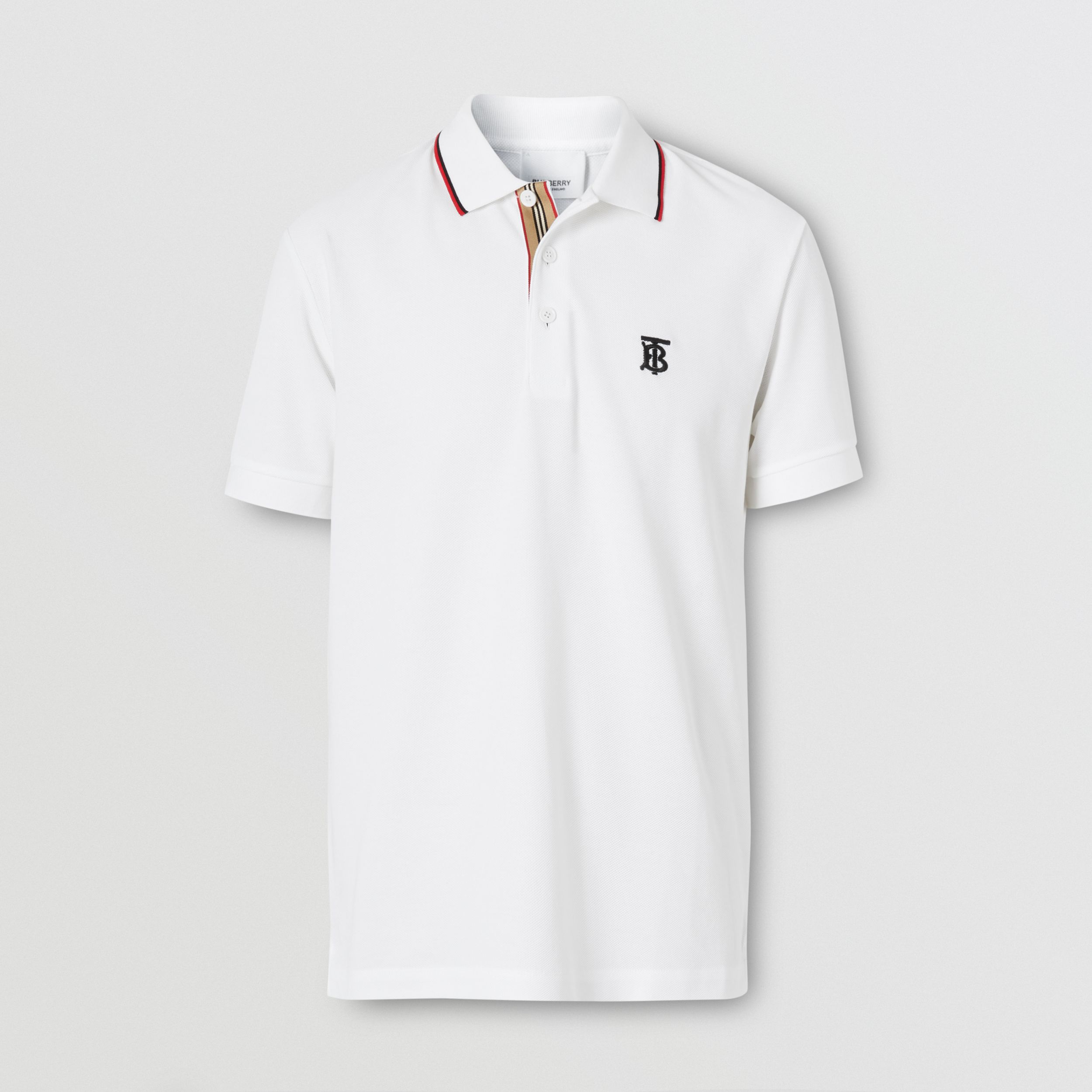 Icon Stripe Placket Cotton Piqué Polo Shirt in White - Men | Burberry - 4