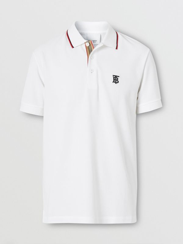 Icon Stripe Placket Cotton Piqué Polo Shirt in White - Men | Burberry - cell image 3