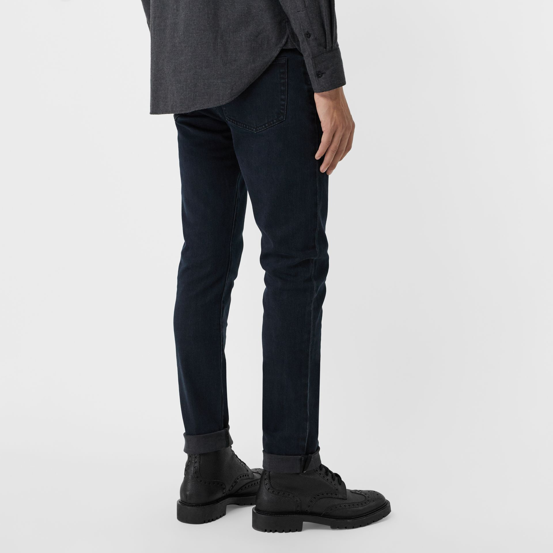 Slim Fit Stretch Denim Jeans in Dark Indigo - Men | Burberry Singapore - gallery image 2
