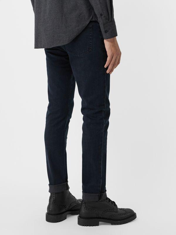 Slim Fit Stretch Denim Jeans in Dark Indigo - Men | Burberry United Kingdom - cell image 2