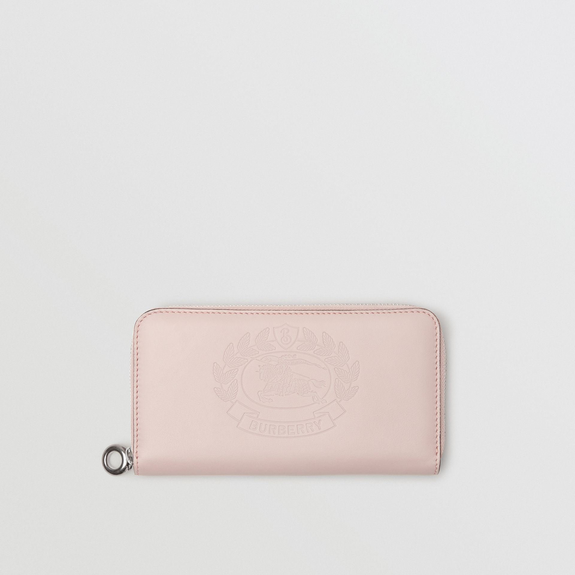 Embossed Crest Two-tone Leather Ziparound Wallet in Chalk Pink - Women | Burberry - gallery image 0
