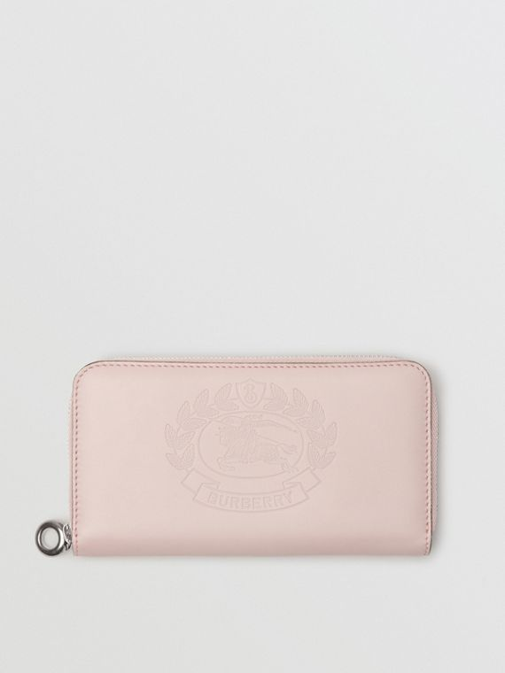 Embossed Crest Two-tone Leather Ziparound Wallet in Chalk Pink