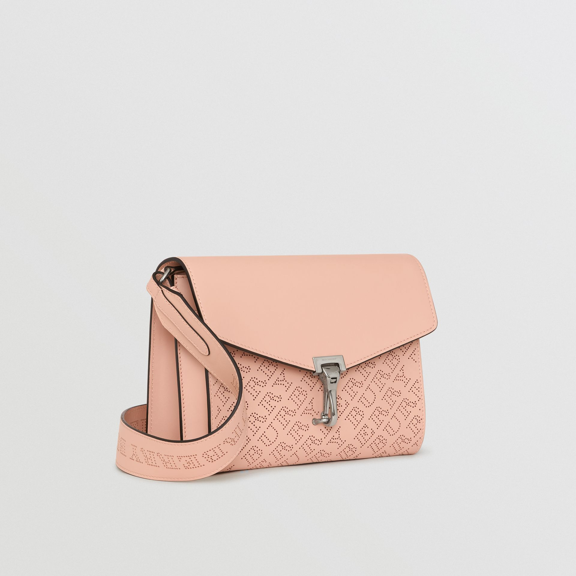Small Perforated Logo Leather Crossbody Bag in Pale Fawn Pink - Women | Burberry - gallery image 6