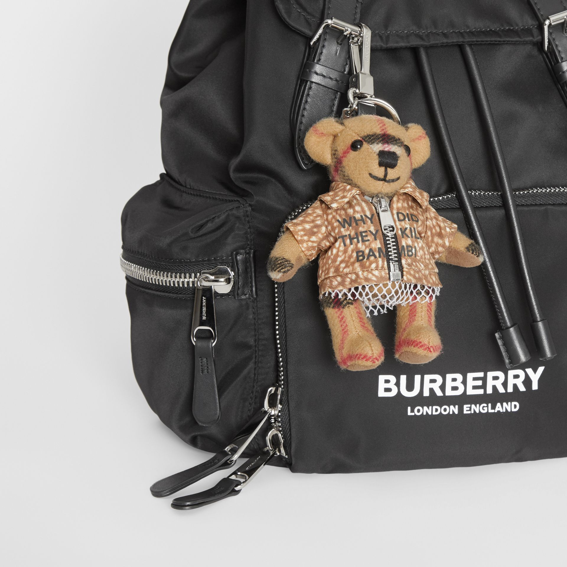 Thomas Bear Charm in Deer Print Coat in Antique Yellow | Burberry United Kingdom - gallery image 4