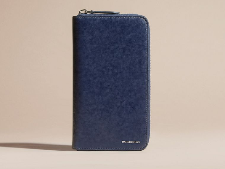 London Leather Ziparound Wallet in Dark Navy | Burberry Australia - cell image 1
