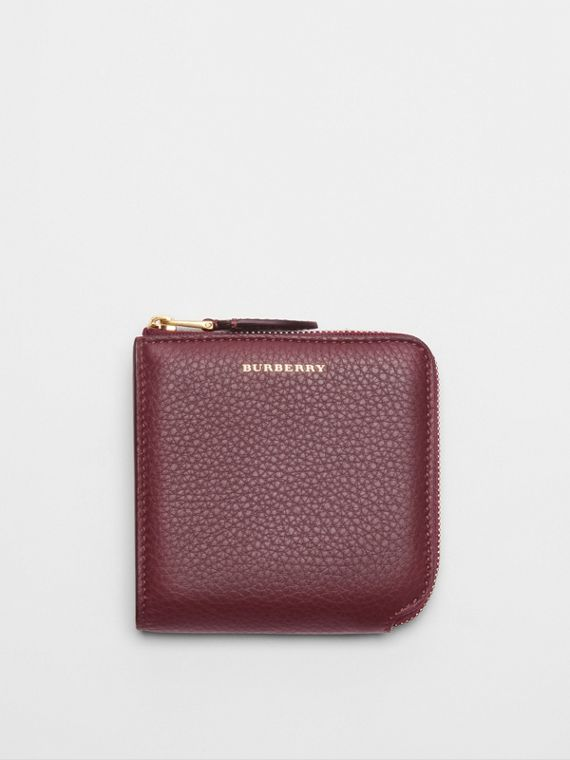 Grainy Leather Square Ziparound Wallet in Deep Claret