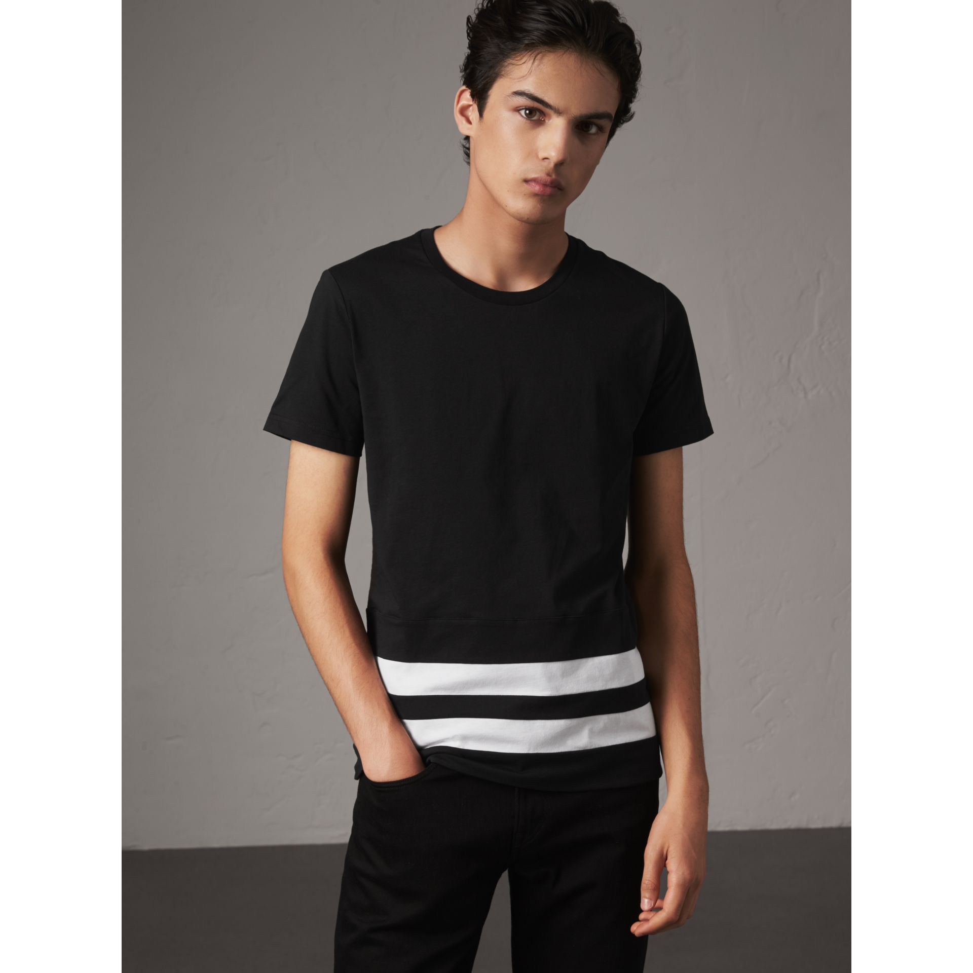 Striped Hem Cotton T-shirt in Black - Men | Burberry - gallery image 1
